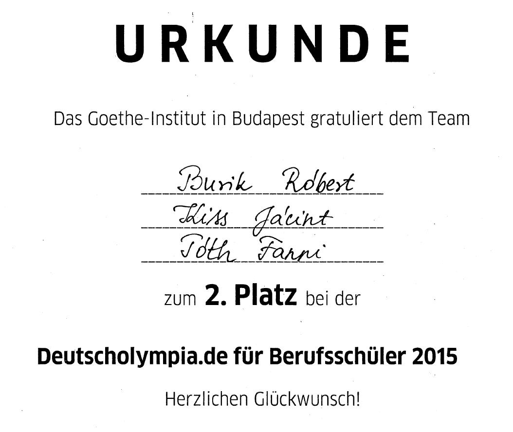 Szakiskolás tanulóink a Goethe Intézetben versenyeztek